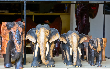 orphanage: Sri Lankan traditional handcrafted goods for sale in a shop at Pinnawala elephant orphanage in Rambukkana, Sri Lanka Stock Photo