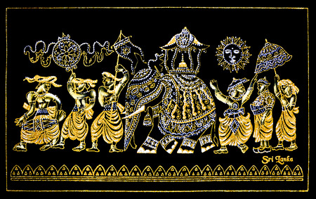 sri lankan: Sri Lankan Traditional Hand Made Glitter Canvas Art Of Kandy Esala Procession In The Sacred Temple Of The Tooth Relic, The Handicrafts Of Decorative Sewing And Textile Art Stock Photo