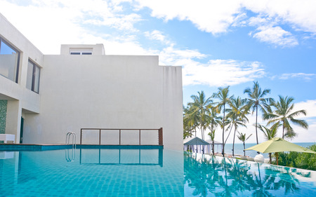 srilanka: Infinity Swimming Pool In A Tropical Hotel That Located In Costal Area Negambo, Sri Lanka