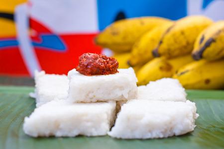 sri lankan: Kiribath, The milk rice is a traditional Sri Lankan food made from rice and coconut milk Stock Photo