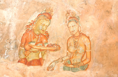 pintura rupestre: Pinturas quinto siglo Sigiriya Rock Cave pared, Sri Lanka Editorial