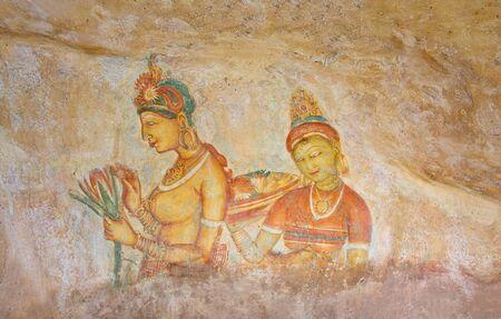 sigiriya: 5th Century Sigiriya Rock Cave Wall Paintings, Sri Lanka