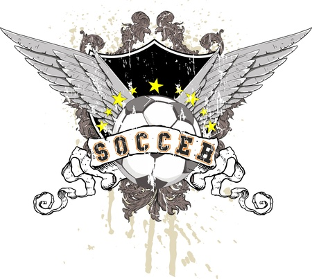 soccer ball with wings, a shield in the background with decorations and splashes of paint. Above the ball a row of stars Illustration