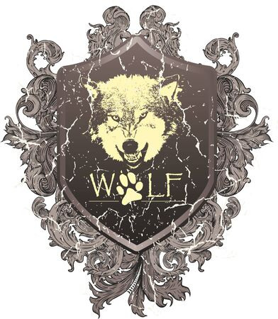 wolf that shows the teeth, with a shield and heraldic leaves
