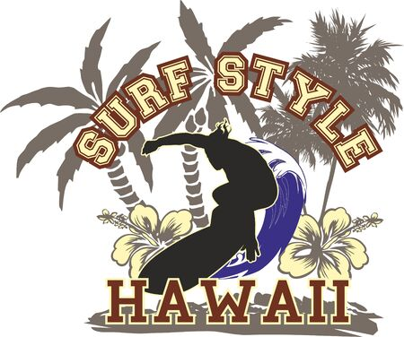 man surfing on a wave hawaii island, with trees and flowers typical of the place