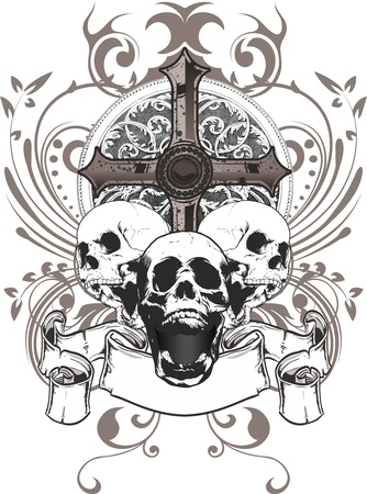 three skulls with a cross and a coat of arms surrounded by floral ornaments