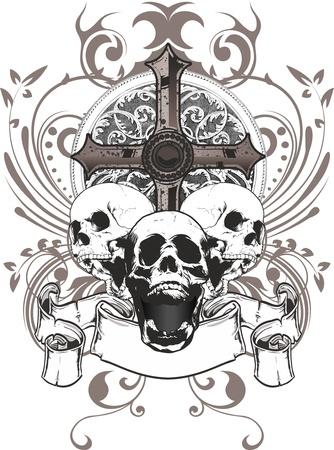 cr�nes: trois cr�nes avec une croix et un blason entour� par des ornements floraux Illustration