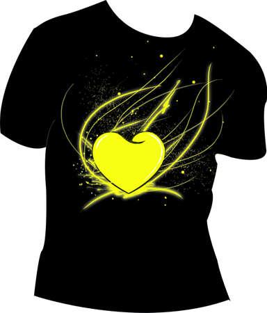 t-shirt  heart gold Illustration