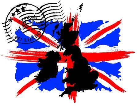 postmark: Englisch Flagge mit dem Poststempel und Karte