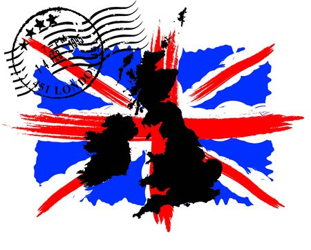 english flag: English flag with the postmark and map Illustration