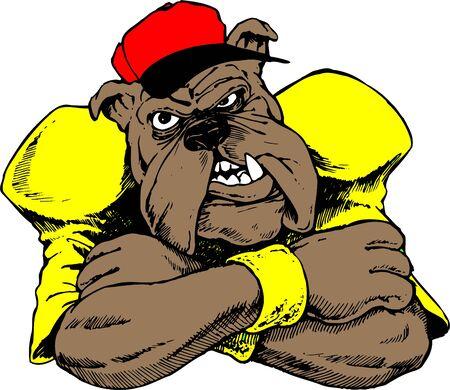 The Bulldog, dog aggressive or angry Illustration