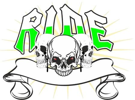 puntig: drie schedels met een banner in een meer puntige ster en het woord rit