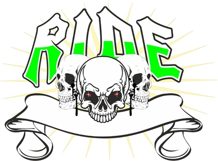 three skulls with a banner in a more pointed star and the word ride Illustration