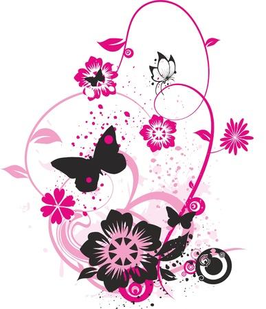 petites fleurs: dessin floral de papillons, de fleurs et de petits cercles color�s avec rose vif