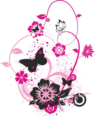 butterflies and flowers: floral design with butterflies, flowers and small circles colored with bright pink