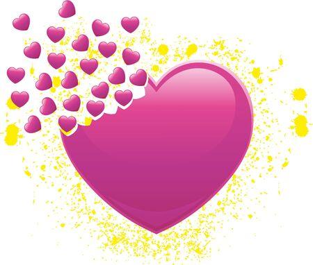 breaks: Coraz�n que se rompe en muchos corazones peque�os con toques de amarillo