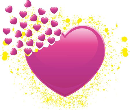 Heart that breaks up into many small hearts with splashes of yellow
