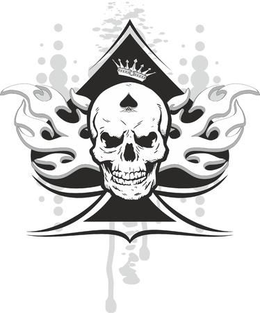 에이스: 왕관과 부족의 두개골과 스페이드의 에이스 일러스트