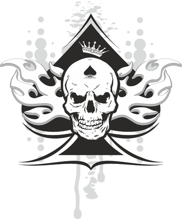 skull and crown: ace of spades with skull with a crown and a tribal