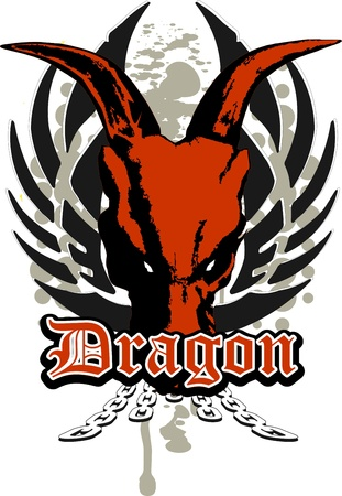 skull of a dragon with wings and chains Vector