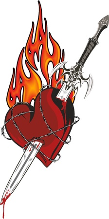 A sword in the heart surrounded by barbed wire with flames in the background Vector