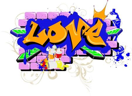 wand graffiti: Wand-Graffiti-Liebe Urban Art Illustration