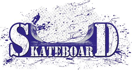 gemarkeerd met een skateboard oprit, en een kleurrijke splash Skateboarder
