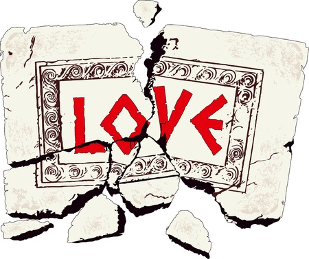 Table of broken stone written with love Illustration
