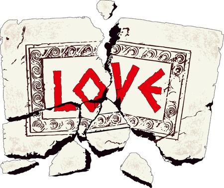 Table of broken stone written with love Illustration