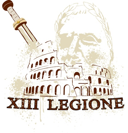 The Colosseum in Rome, the gladius sword of the Romans and cesare commander of the 13 Roman legion Illustration