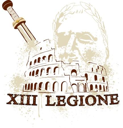 The Colosseum in Rome, the gladius sword of the Romans and cesare commander of the 13 Roman legion Illustration
