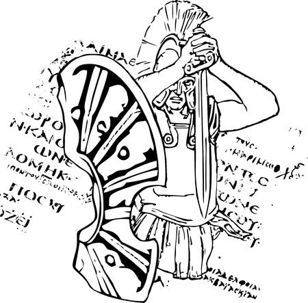 sparta: Griechische Schild eines Soldaten sparta mit dem Schwert. Im Hintergrund ein griechischer Buchstabe.