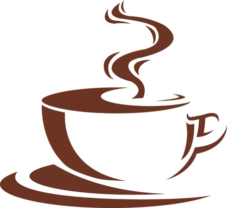 steaming cup of coffee brown Illustration