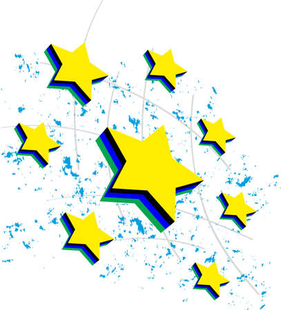 seven stars in 3d with colored background