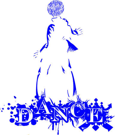 dancer in silhouette behind on the word dance Illustration