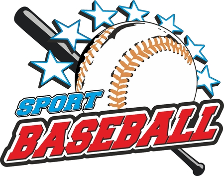 sports vector for t-shirts, prints and logos  With ball bat is star Vector