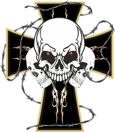 Worn motorcyclists the cross with three skulls, in order to diversify itself from the others Stock Vector - 27907479