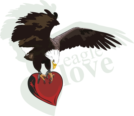 golden eagle carrying a heart with claws