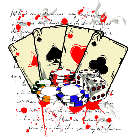 ace of spades: poker cards with two dice and casino chips