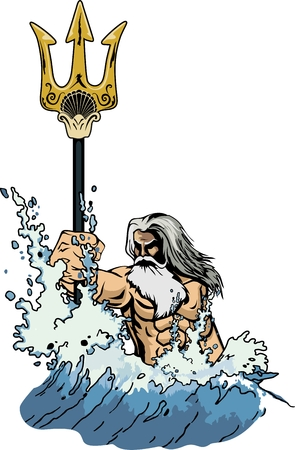 illustration sea god Neptune or Poseidon, comes out of the sea, taking in hand a trident.