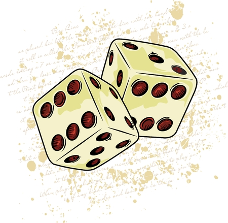 two dice with written and stains in the background