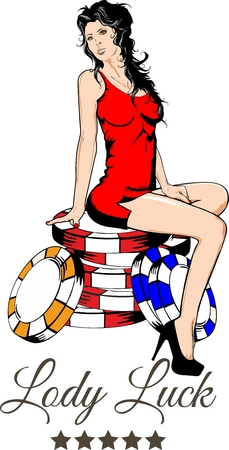 Sexy girl sitting on the colored chips for casino Illustration
