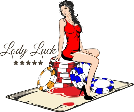 Sexy girl sitting on the colored chips for casino over a playing card