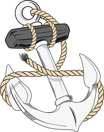 naval anchor with rope Illustration
