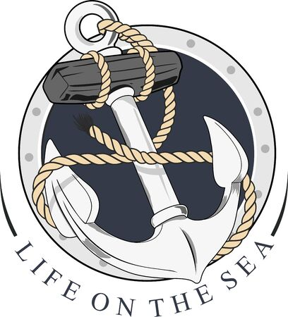 naval anchor with rope and circles background