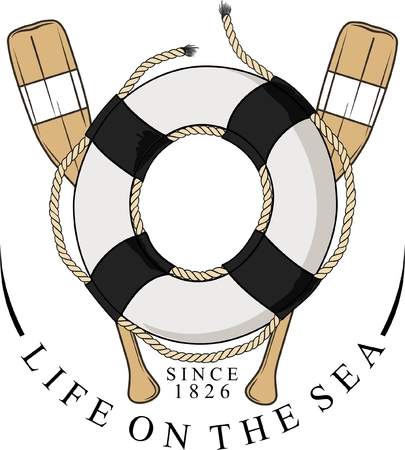 lifebelt with ropes and behind two wooden oars Illustration