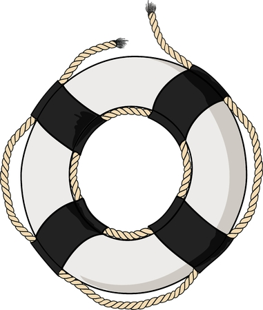 rescue circle: lifebelt with ropes Illustration