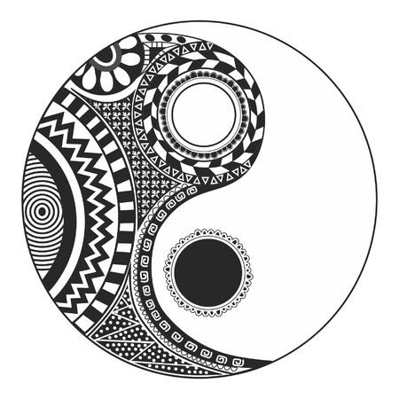 complementary: The yin and yang theory very old. That symbol of duality exists in every element That make up the universe: two opposite and complementary entities That make up the totality Illustration