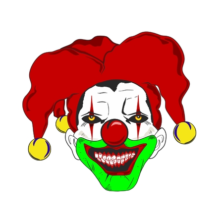 killer: Horror clown with hat jolly. Illustration