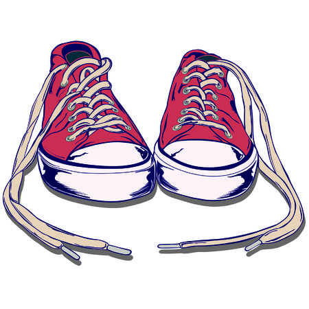 soft shoe with worn rubber soles for sports or casual occasions. Illustration
